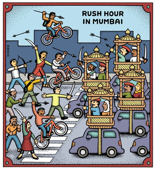Rush hour Mumbai by Andy Singer